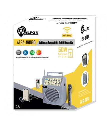 Alfon AFSA-16060Y 50W USB/SD/BT Portatif Anfi Yaka Mikrofonlu