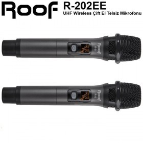 Roof R-202 UHF Band 2 Kanal Kablosuz Çift El Mikrofon Seti