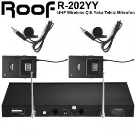 Roof R-202 Çift Yaka UHF Band 2 Kanal Kablosuz Dijital Mikrofon